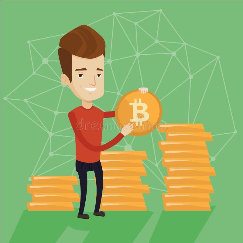 Hombre de negocios acertado joven con la moneda del bitcoin stock de ilustración