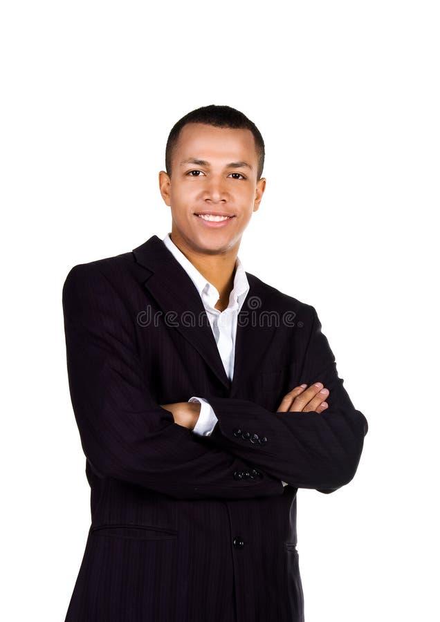Hombre de negocios acertado joven en blanco fotografía de archivo