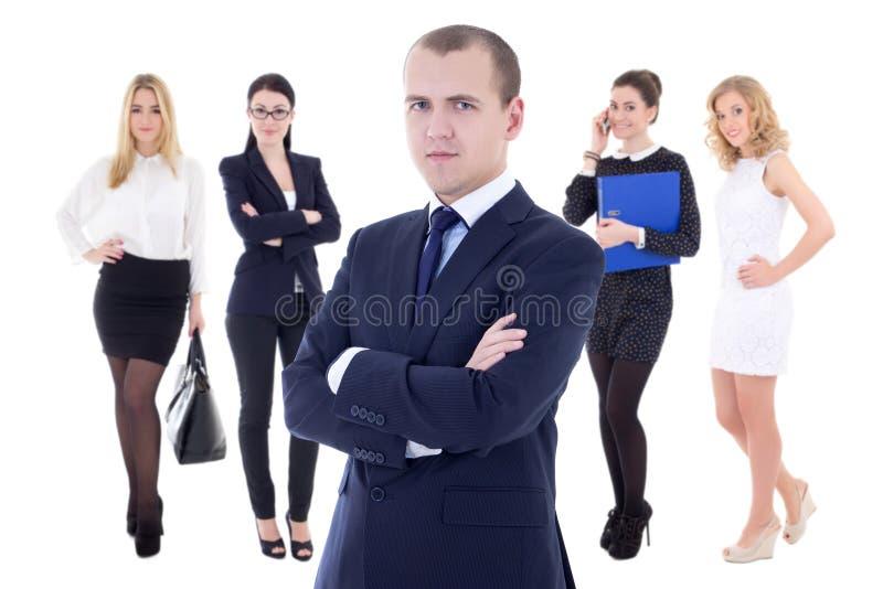 Hombre de negocios acertado joven y su equipo de mujer aislados en whi imagen de archivo libre de regalías