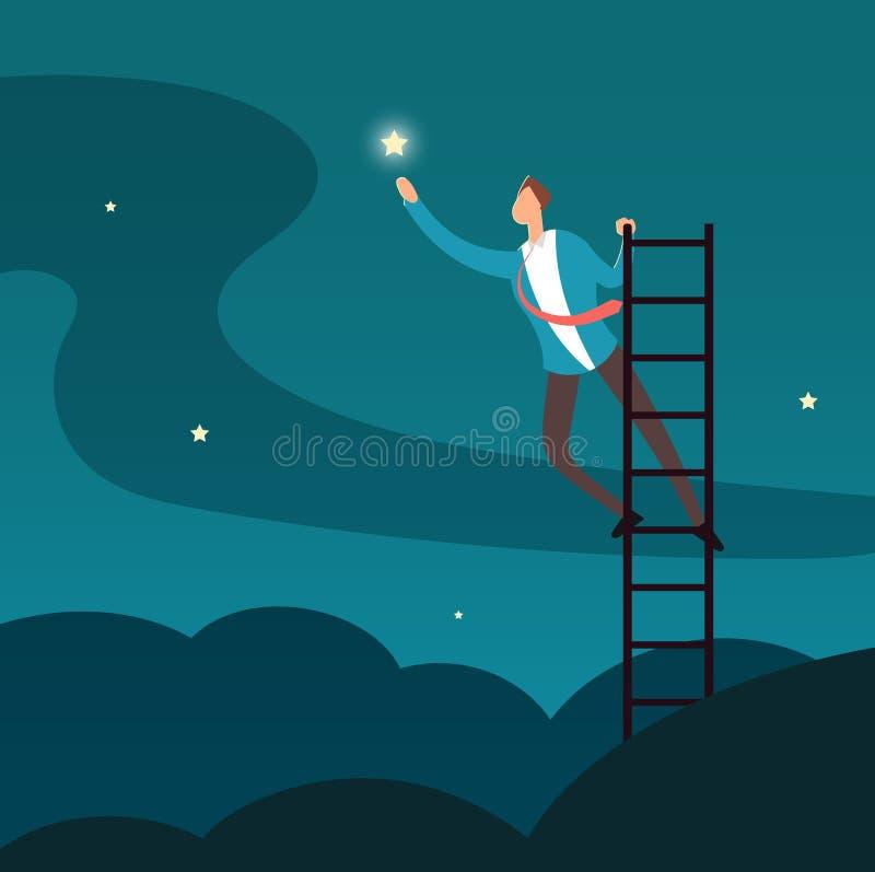 Hombre de negocios acertado que alcanza la estrella Hombre que sube a las estrellas Concepto del vector del éxito del negocio y d ilustración del vector