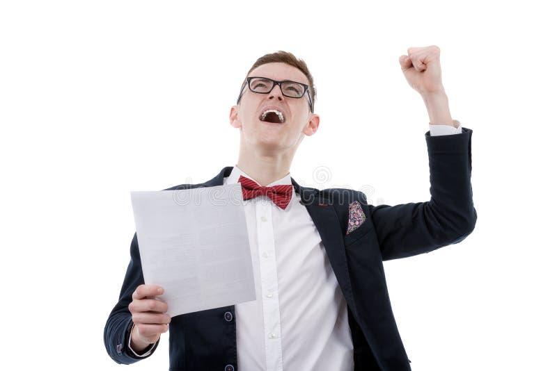 Hombre de negocios acertado que celebra con los brazos para arriba - aislado encima fotografía de archivo