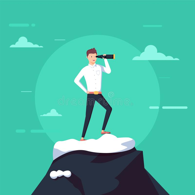 Hombre de negocios acertado que lleva a cabo el soporte del catalejo encima de la montaña Búsqueda para la nueva oportunidad de n ilustración del vector