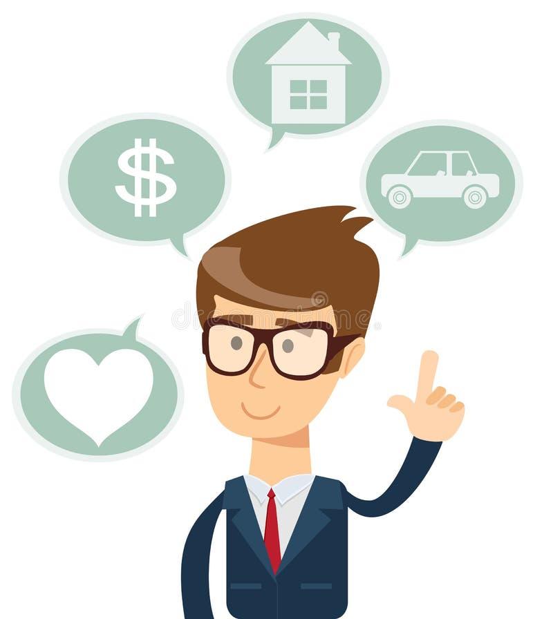 Hombre de negocios acertado que sueña sobre la casa, coche, compras, amor stock de ilustración
