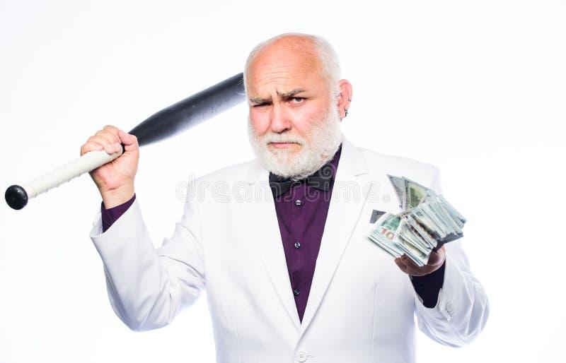 Hombre de negocios acertado Vida empresarial brutal Estafa y ataque Concepto del pivote central Dinero negro del efectivo Control fotos de archivo
