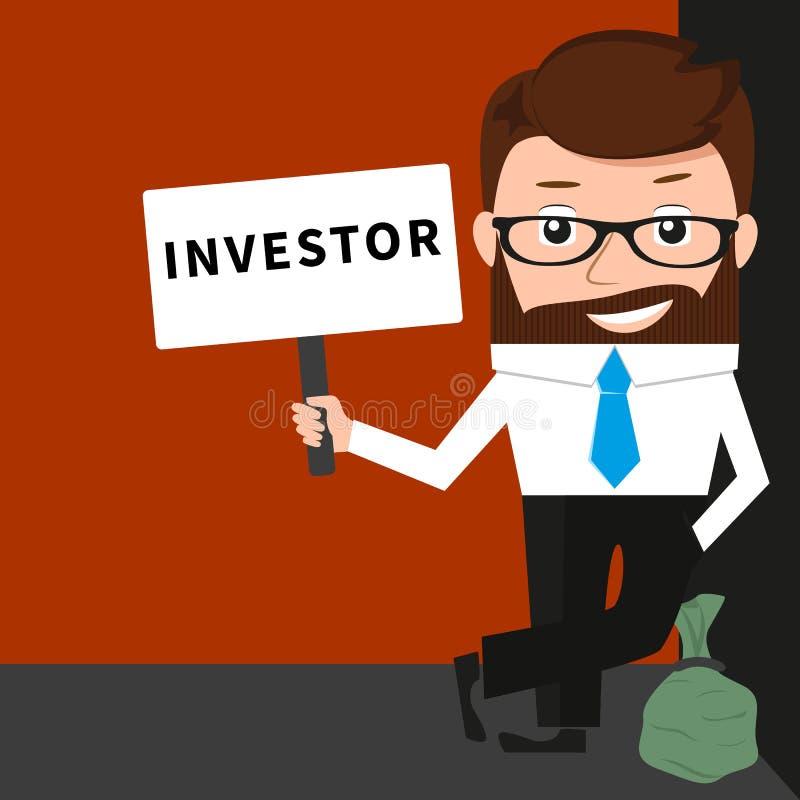 Hombre de negocios afortunado como inversor ilustración del vector