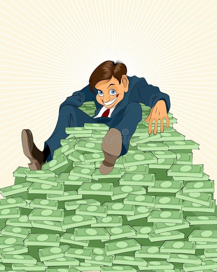 Hombre de negocios afortunado con el dinero libre illustration