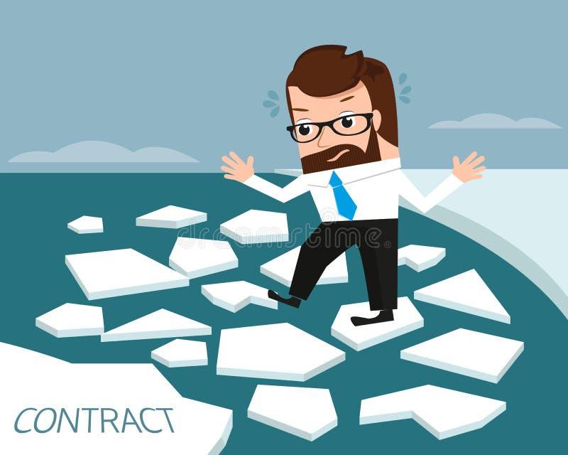 Hombre de negocios afortunado en el río del hielo ilustración del vector