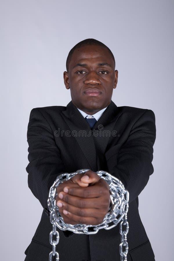 Hombre de negocios africano arrestado imagen de archivo libre de regalías