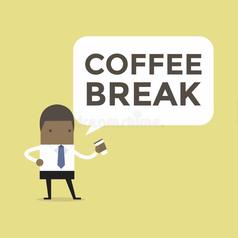 Hombre de negocios africano con el descanso para tomar café ilustración del vector