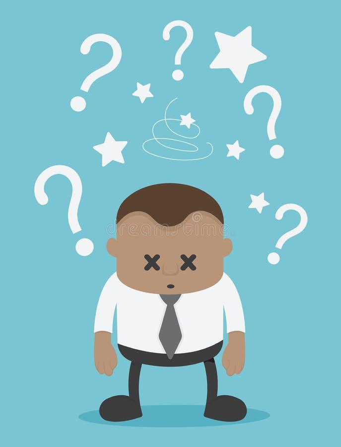 Hombre de negocios africano con el signo de interrogación en un fondo azul ilustración del vector