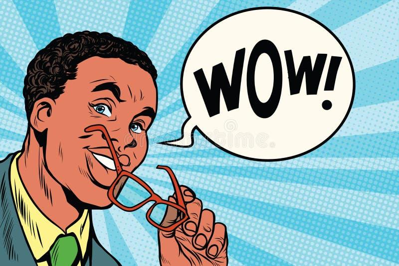 Hombre de negocios africano inteligente del wow con los vidrios libre illustration