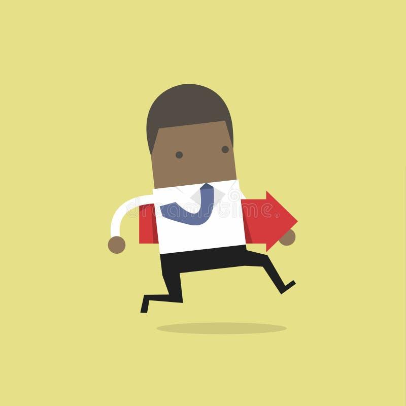 Hombre de negocios africano que corre y que sostiene la flecha roja stock de ilustración