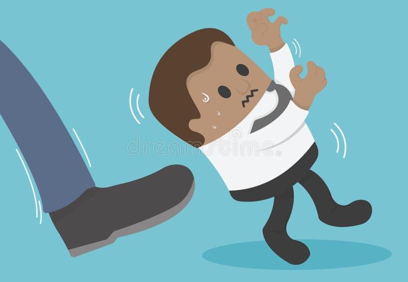 Hombre de negocios africano que es golpeado con el pie hacia fuera ilustración del vector