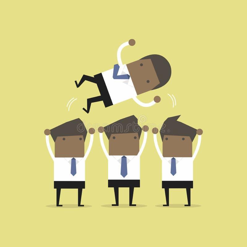 Hombre de negocios africano que lanza para arriba por su trabajo en equipo ilustración del vector