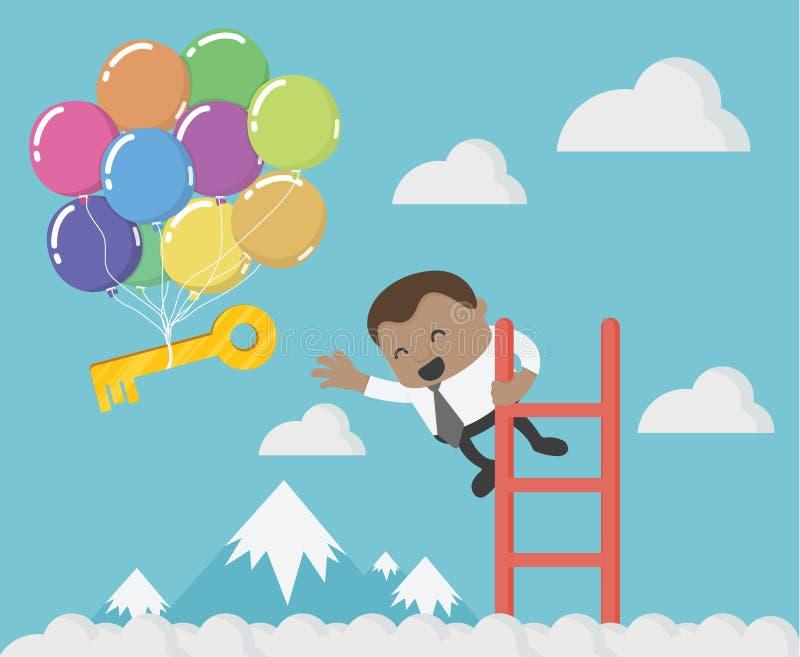 Hombre de negocios africano que se sostiene para dar la llave del éxito ilustración del vector
