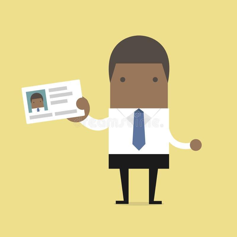 Hombre de negocios africano que sostiene la tarjeta de la identificación en estilo plano ilustración del vector