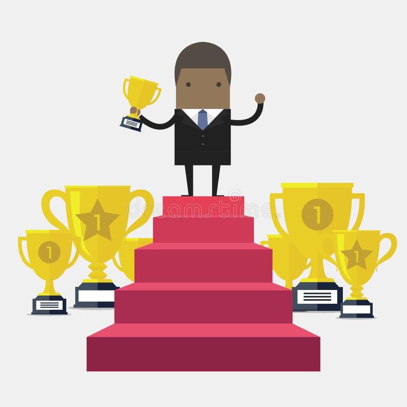Hombre de negocios africano Walking Up Stairs, hombre de negocios Win Price del éxito del concepto ilustración del vector