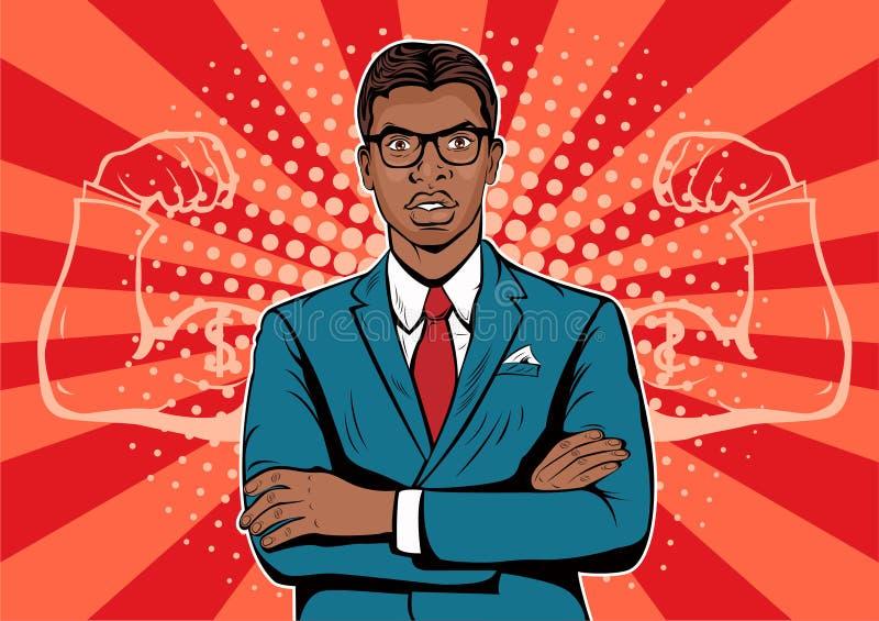 Hombre de negocios afroamericano con estilo retro del arte pop del dólar de la moneda de los músculos ilustración del vector