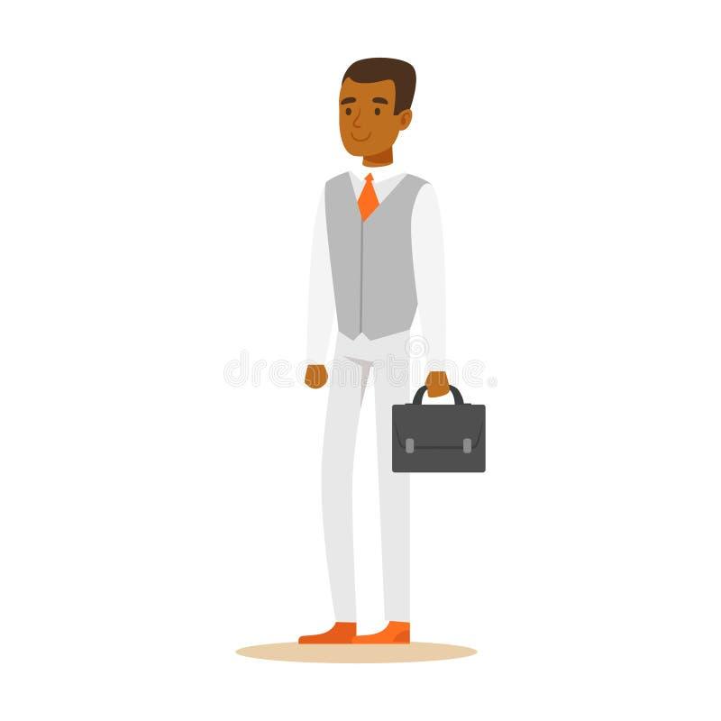 Hombre de negocios afroamericano confiado joven con la cartera Ejemplo colorido del vector del personaje de dibujos animados stock de ilustración