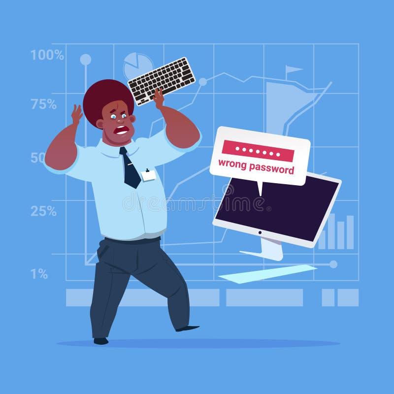 Hombre de negocios afroamericano enojado que entra contraseña incorrecta usando problema del ordenador con concepto del acceso stock de ilustración