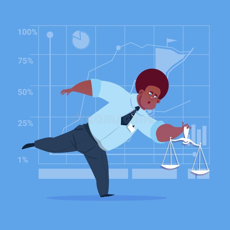 Hombre de negocios afroamericano que lleva a cabo concepto del servicio jurídico de la escala de los pesos libre illustration