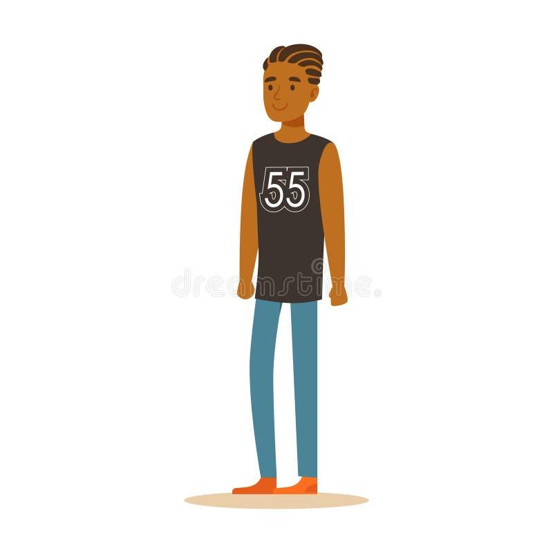 Hombre de negocios afroamericano sonriente con los dreadlocks en una situación sin mangas negra de la camisa Personaje de dibujos ilustración del vector