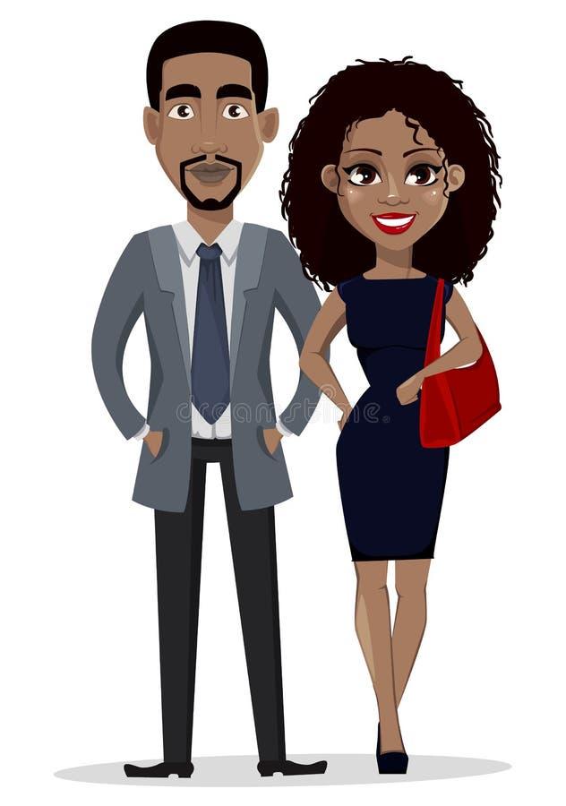 Hombre de negocios afroamericano y mujer de negocios ilustración del vector