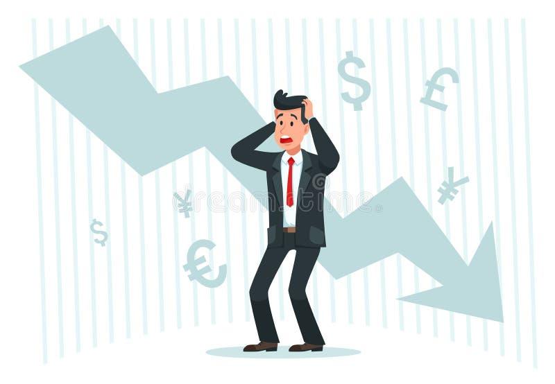 Hombre de negocios agotador Beneficios descendentes, abajo del gráfico de la carta de la flecha y del ejemplo arruinado del vecto stock de ilustración
