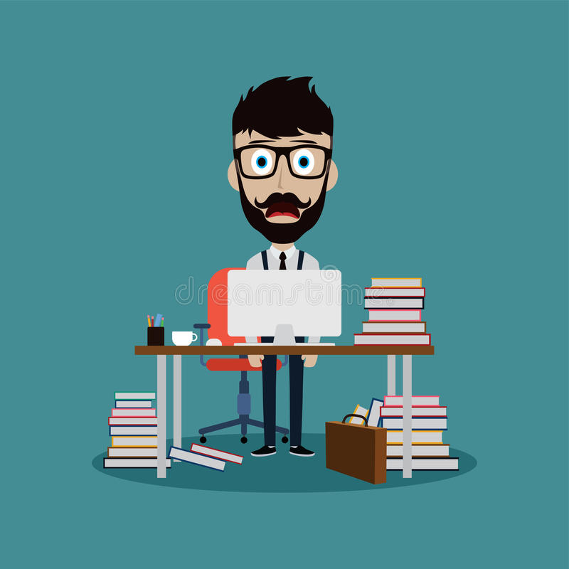hombre de negocios agotador que trabaja detrás del escritorio de oficina stock de ilustración