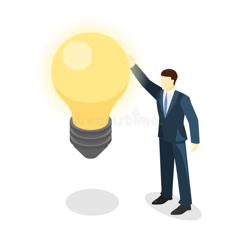 Hombre de negocios aislado 3D plano isométrico que busca ideas stock de ilustración