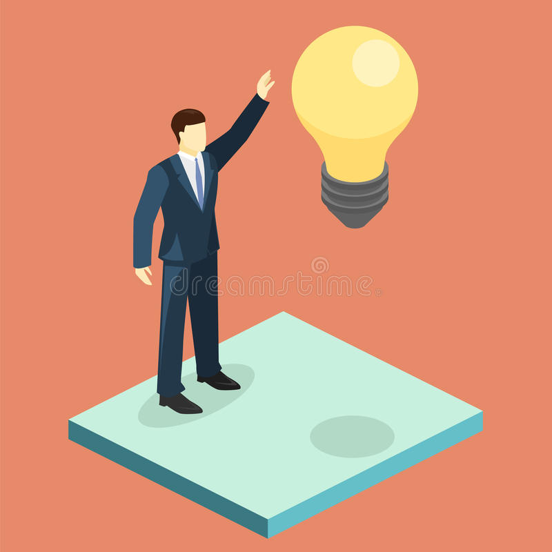 Hombre de negocios aislado 3D plano isométrico que busca ideas libre illustration