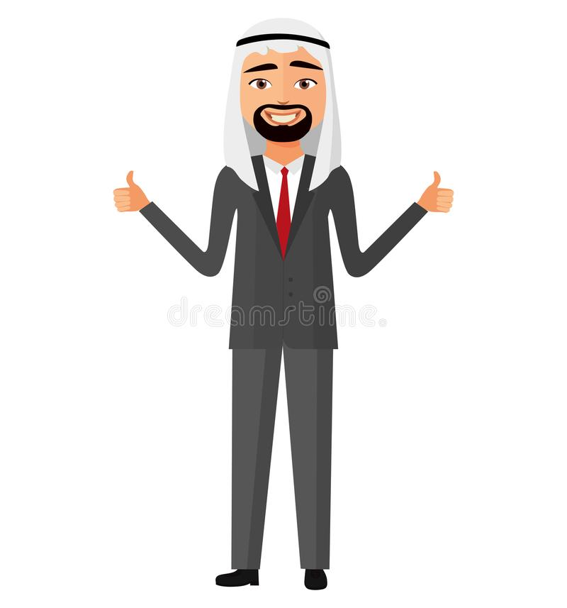 Hombre de negocios alegre de Irán del árabe que muestra el pulgar encima de la historieta plana del vector ilustración del vector