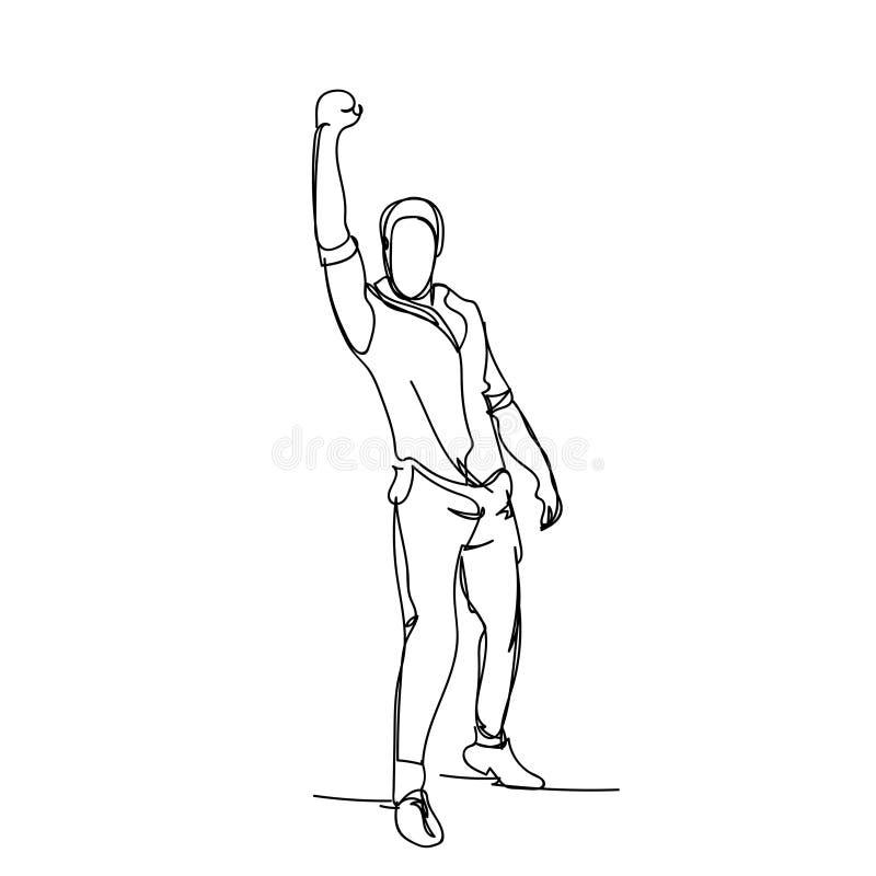 Hombre de negocios alegre que lleva a cabo bosquejo masculino aumentado mano de la silueta en el fondo blanco ilustración del vector