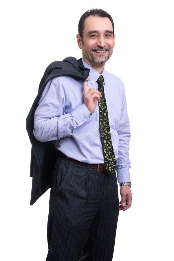 Hombre de negocios aliviado feliz foto de archivo