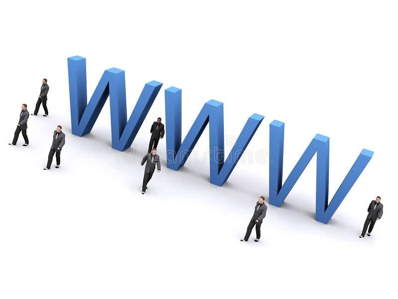 Hombre de negocios alrededor de WWW ilustración del vector