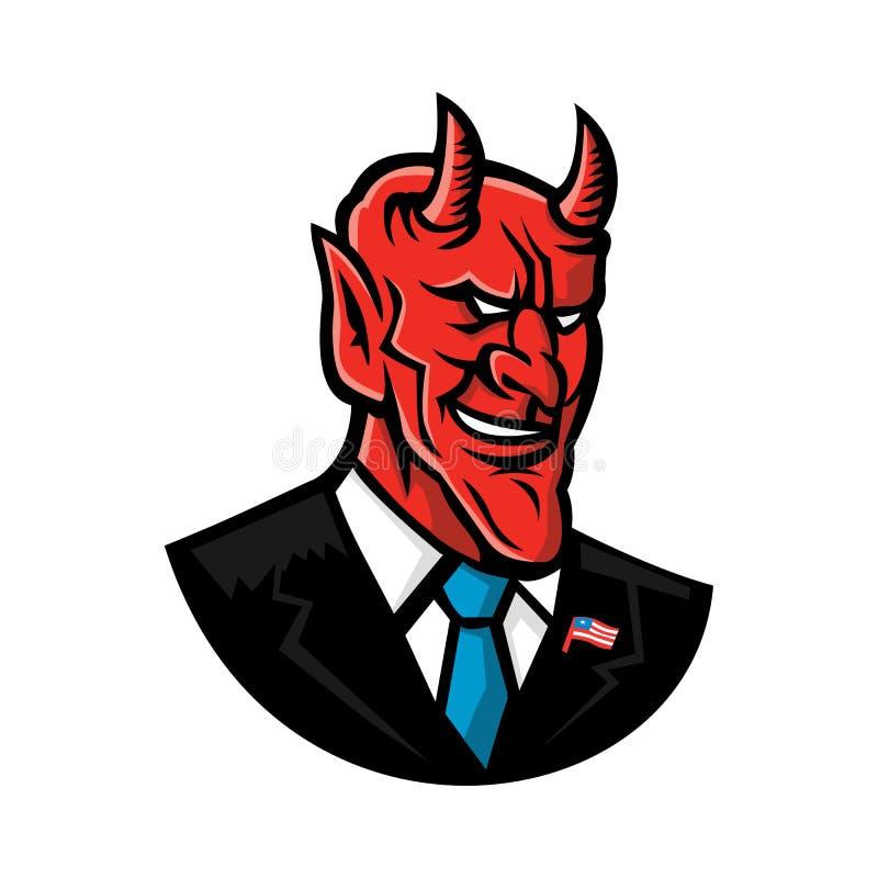 Hombre de negocios americano Mascot del diablo stock de ilustración