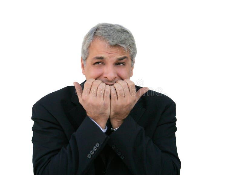 Hombre de negocios ansioso imagenes de archivo