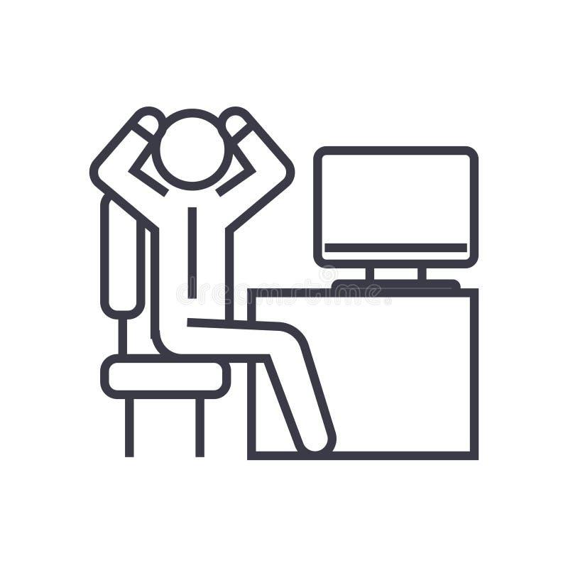 Hombre de negocios ansioso en el icono linear de la oficina, muestra, símbolo, vector en fondo aislado ilustración del vector