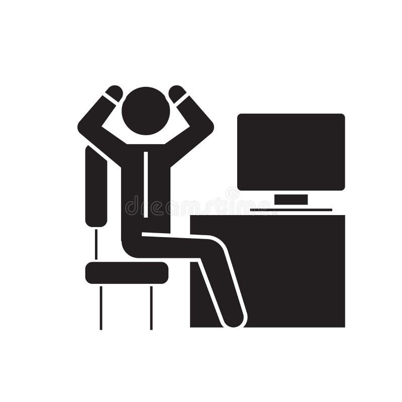 Hombre de negocios ansioso en icono del concepto del vector del negro de la oficina Hombre de negocios ansioso en el ejemplo plan libre illustration