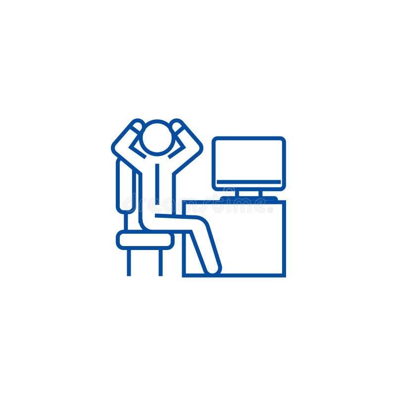 Hombre de negocios ansioso en la línea concepto de la oficina del icono Hombre de negocios ansioso en el símbolo plano del vector stock de ilustración
