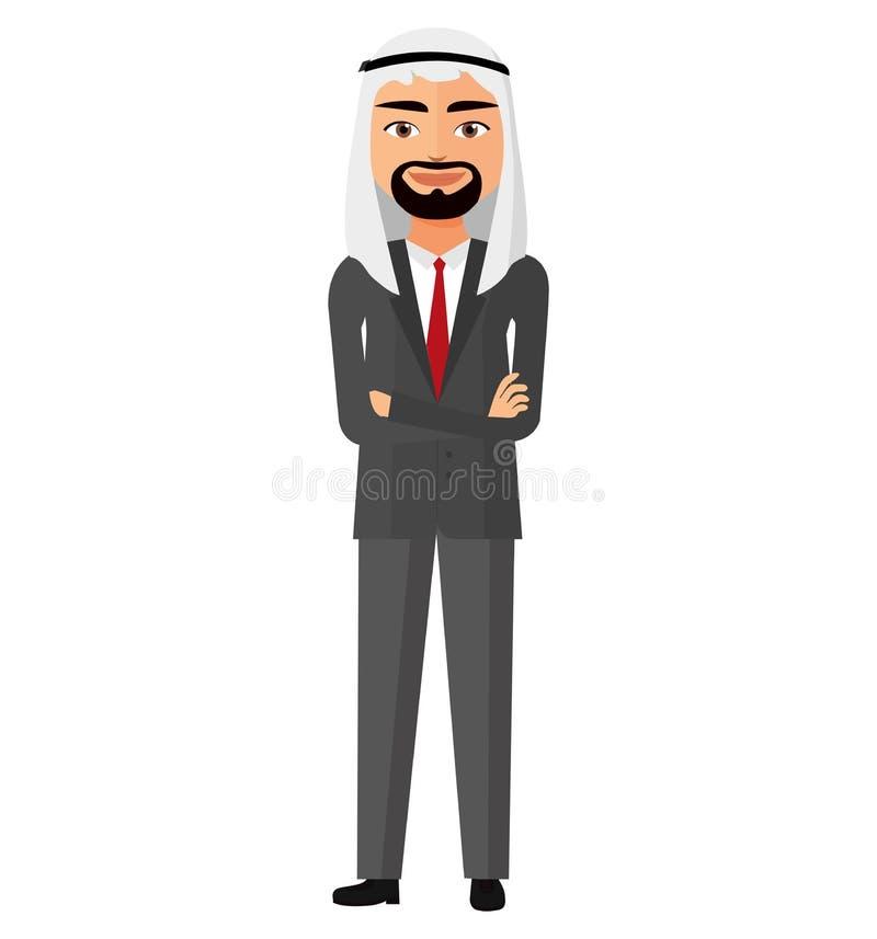Hombre de negocios de Arabia Saudita con el ejemplo cruzado del vector de los brazos libre illustration