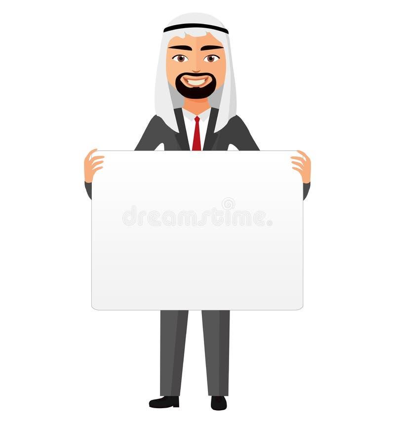 Hombre de negocios de Arabia Saudita que lleva a cabo el vector en blanco blanco de la historieta del cartel stock de ilustración