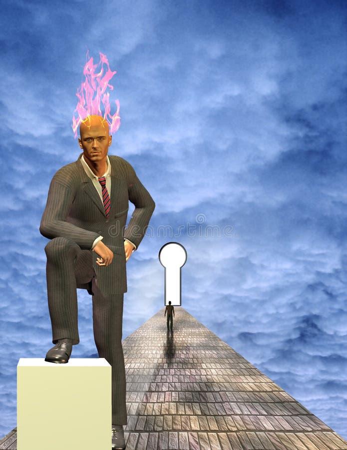 Hombre de negocios ardiente de la mente libre illustration