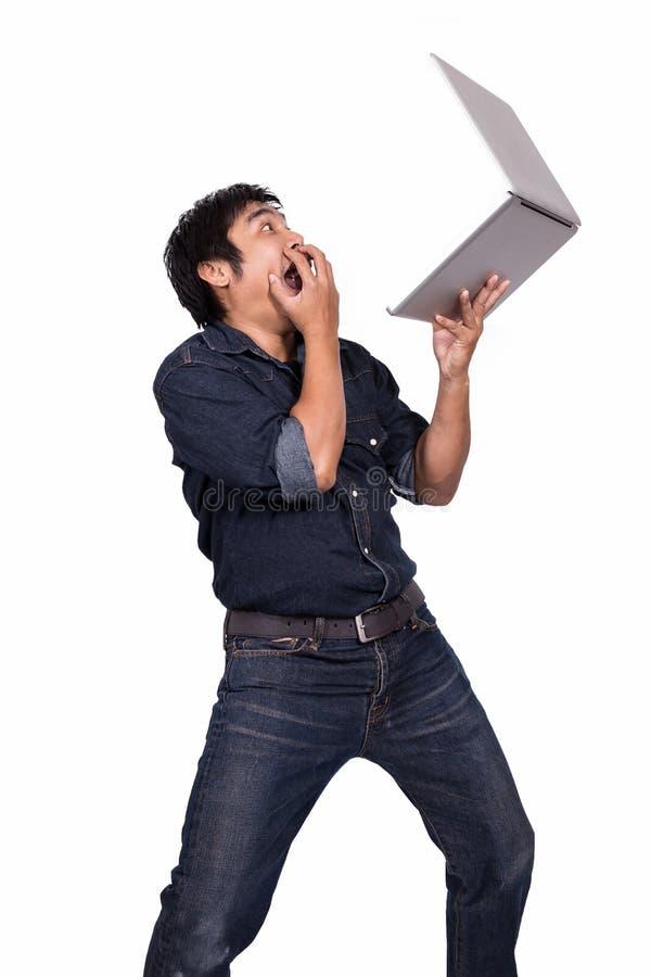 Hombre de negocios asiático chocado foto de archivo libre de regalías