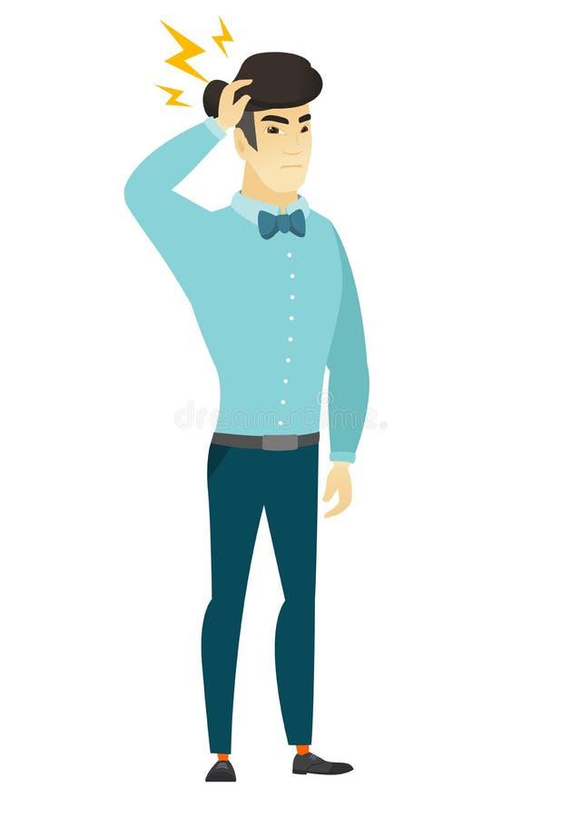 Hombre de negocios asiático con el relámpago sobre su cabeza stock de ilustración