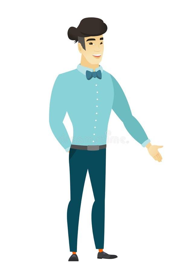Hombre de negocios asiático con la mano en su bolsillo libre illustration