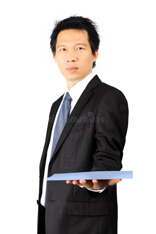 Hombre de negocios asiático de la Edad Media en blanco foto de archivo libre de regalías