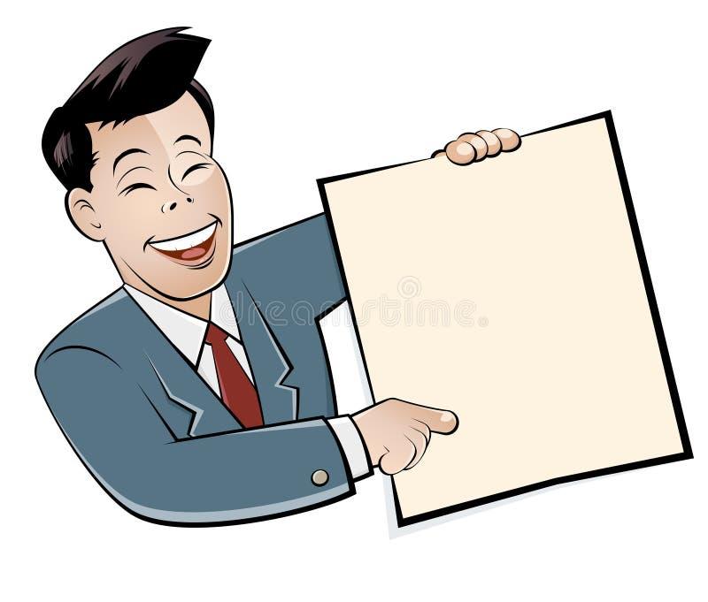 Hombre de negocios asiático de la historieta ilustración del vector
