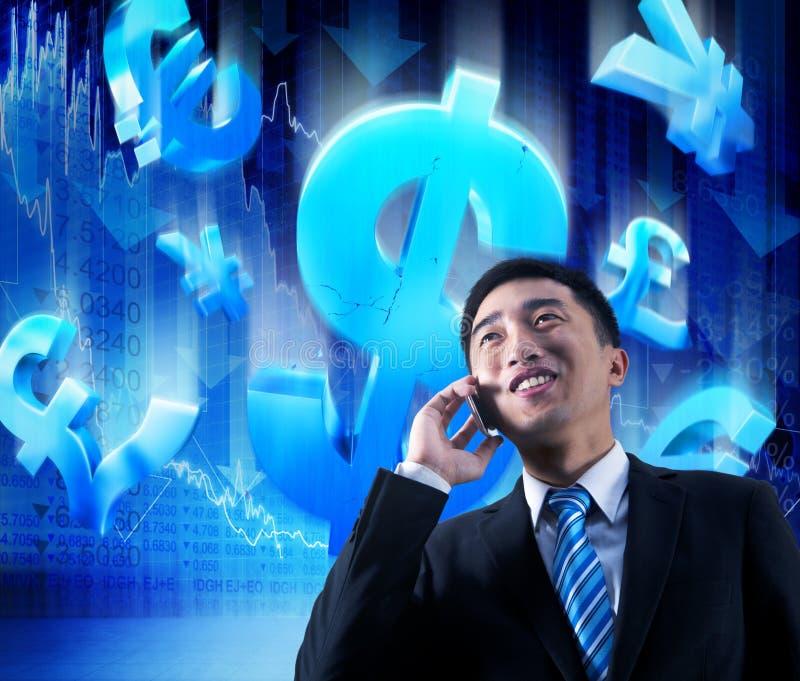 Hombre de negocios asiático en el teléfono ilustración del vector