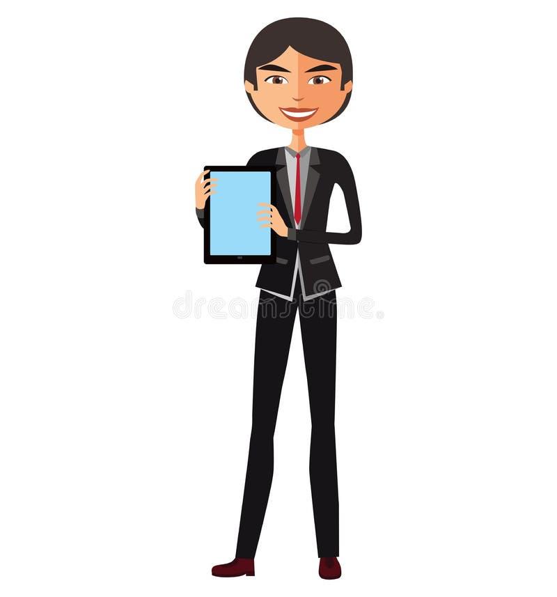Hombre de negocios asiático feliz con la historieta plana del vector de la tableta libre illustration